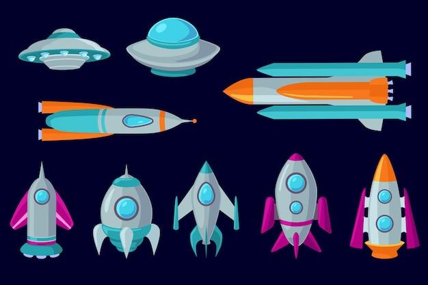 漫画の宇宙船、航空宇宙ロケット、ufoのセット。カラーフラットイラスト