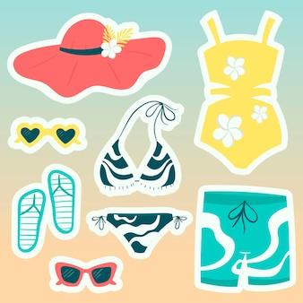 漫画のステッカーのセット。夏のビーチウェアと靴、ビキニのコレクション、水泳用トランクス、明るい色のサングラス。
