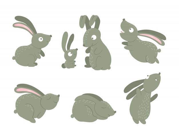さまざまなポーズで漫画スタイルフラット面白いウサギのセットです。森の動物のかわいいイラスト。子供のデザインのノウサギのコレクション