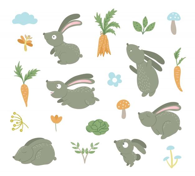 Набор мультяшных плоских забавных кроликов в разных позах