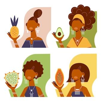 열 대 과일과 함께 만화 세련 된 아프리카 여성의 집합입니다.