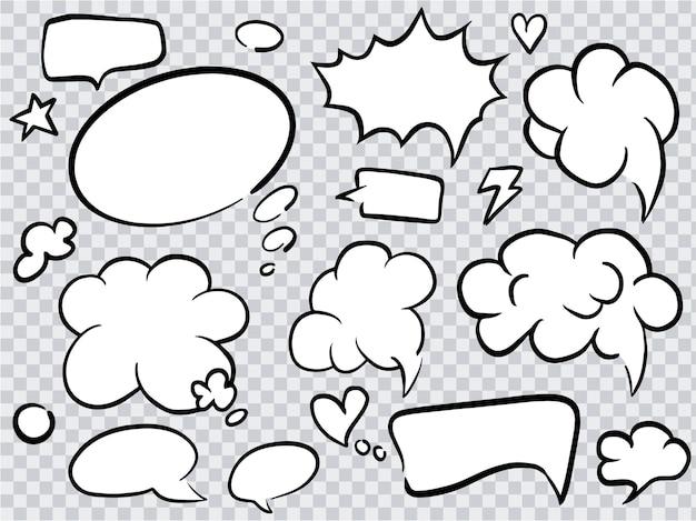 만화 이야기 거품의 집합입니다. 음성 구름 손으로 그린 된 아트