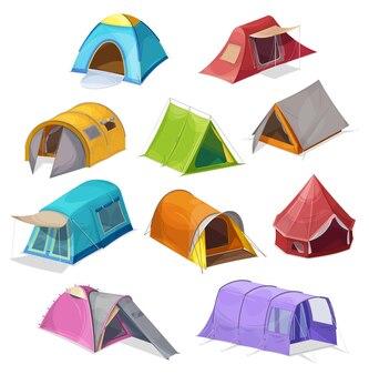 Набор мультяшных палаток, изолированных на белом