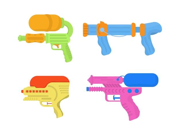 楽しい子供のための漫画おもちゃの水鉄砲のセットです。明るいマルチカラーの子供のアイコン。白い背景の上の水の銃。子供のための武器のおもちゃ。イラスト、。