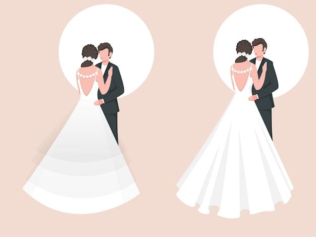 로맨틱 포즈에서 만화 웨딩 커플의 집합입니다.