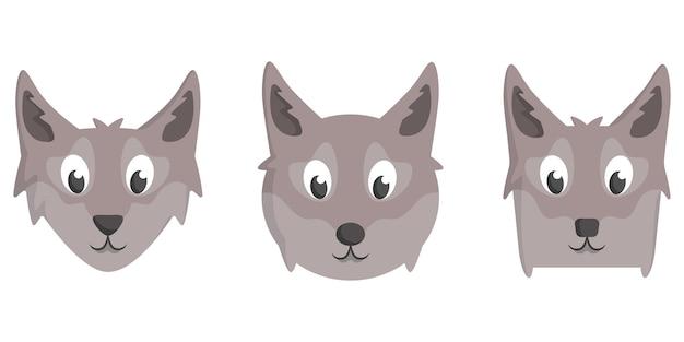 漫画のオオカミのセット。動物の顔のさまざまな形。