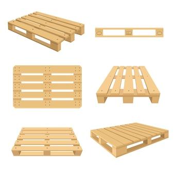 漫画の木製パレットフラットイラストのセットです。さまざまな側面から積み重ねるためのカラフルな木製パレット