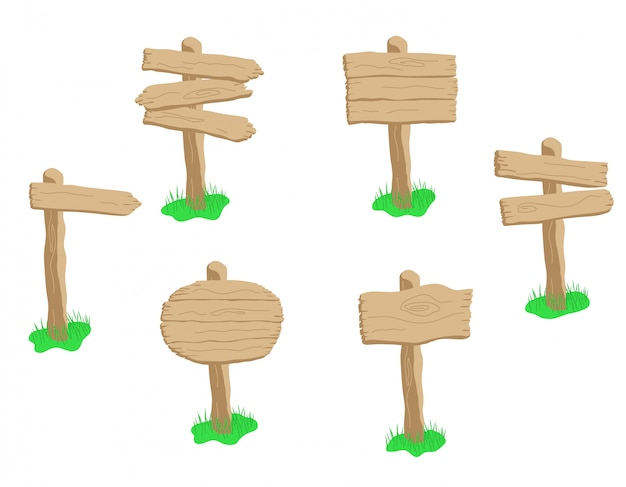 Набор мультфильм деревянный знак, изолированные на белом фоне