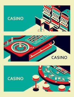 Набор баннеров казино. стол для рулетки, игровой автомат и блэкджек