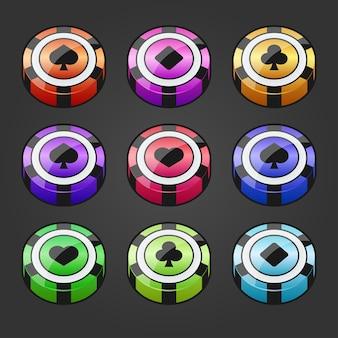 カジノギャンブルチップのさまざまな色のイラストのセット