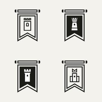 城旗線画ロゴテンプレートベクトルイラストデザインのセット