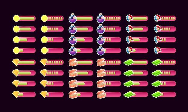 Набор случайных розовых игровых полосок прогресса пользовательского интерфейса