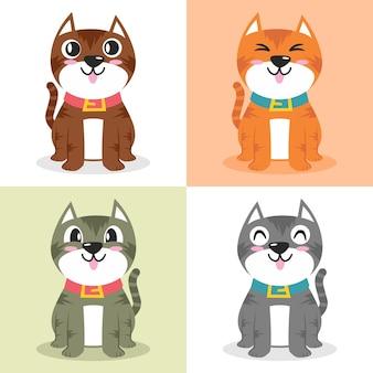 猫キャラクター漫画イラストフラットデザインコンセプトのセット