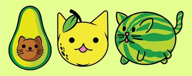 Набор кошачьих фруктов смешные, изолированные на зеленом