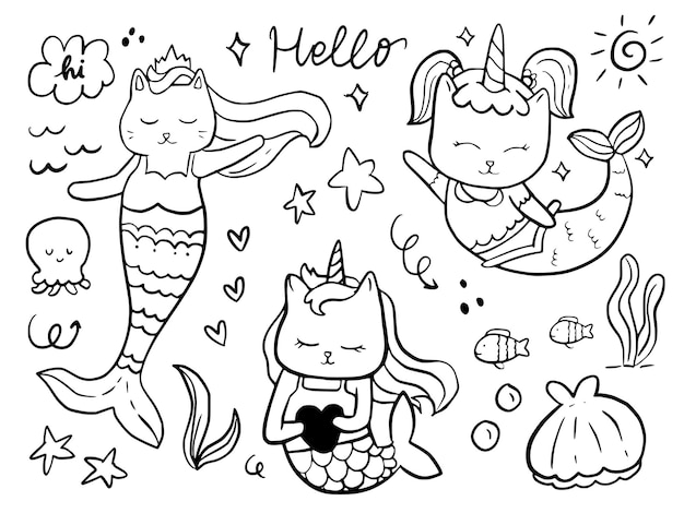 아이들을위한 고양이 인어 낙서 만화 그리기 세트 색칠 및 인쇄