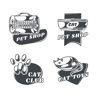 빈티지 스타일의 고양이 로고 세트