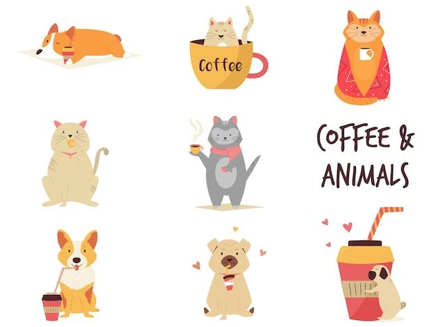 Набор кошек и собак, наслаждающихся кофе. набор векторных иллюстраций