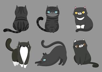 異なるポーズの猫のセット。