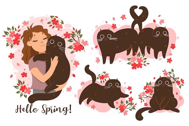 봄 분위기에 고양이의 집합입니다. 벡터 그래픽