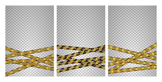 一連の注意、コロナウイルス2020、注意線。黒と黄色の線がストライプ。ウイルス感染。