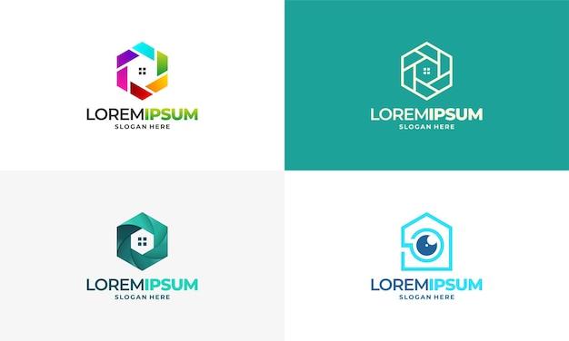 Набор шаблонов логотипа векторной концепции cctv home concept., secure camera cctv logo template design vector