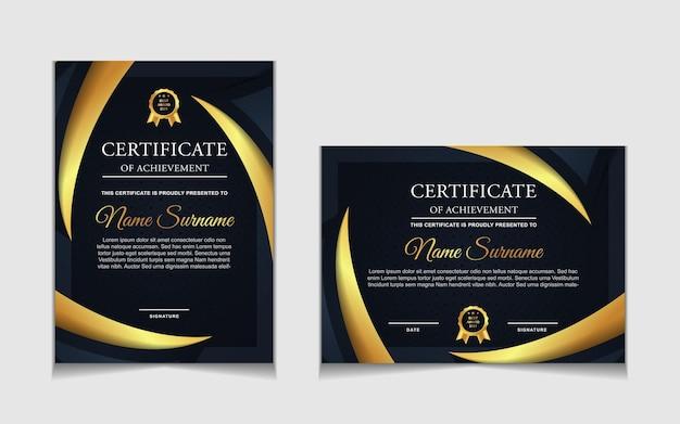 Набор шаблонов сертификатов с темно-синими и роскошными современными формами