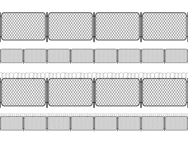 Набор забор из звена цепи с колючей проволокой, черные бесшовные силуэты, изолированных на белом