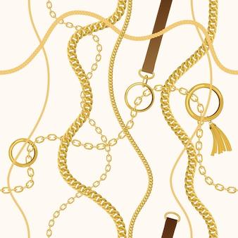 チェーン、ロープ、ベルトのセット。
