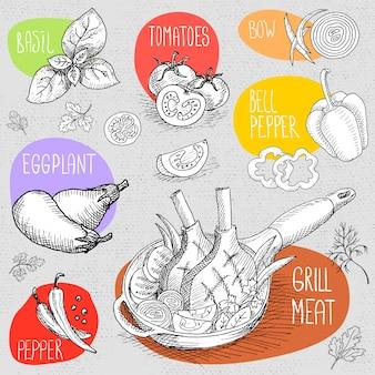 Набор мелом на доске пищи, специи.