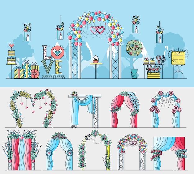 Набор алтарей для свадебной церемонии с разными цветами и украшениями