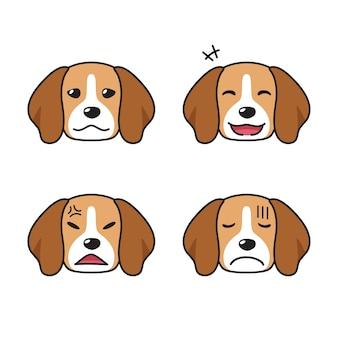 Набор персонажей собак породы бигль, показывающих разные эмоции