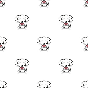 デザインのさまざまな感情を示すキャラクターダルメシアン犬の顔のセット。