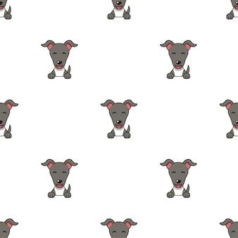 デザインのさまざまな感情を示すキャラクターグレイハウンド犬の顔のセット。