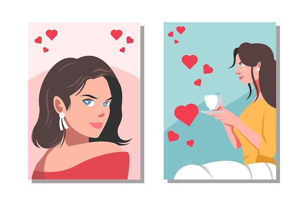 美女のキャラクターイラストのセットです。お茶を一杯飲む