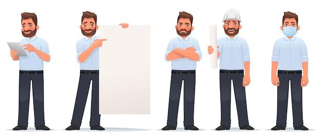 캐릭터 남자 사업가 세트는 빈 포스터에 태블릿 손을 보여줍니다.