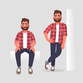 2つのポーズのキャラクターマンのセット。男は座っていて、壁にもたれかかっています。漫画のスタイルで