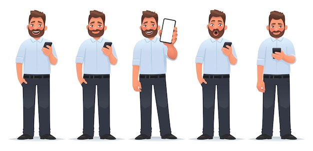 스마트폰 사업가 다양한 감정을 가진 남자의 캐릭터 세트는 가제트 쇼 화면을 사용합니다