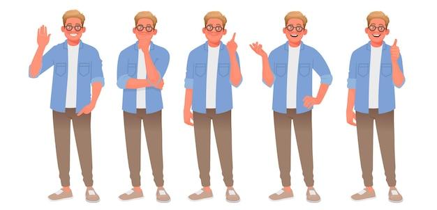 さまざまなジェスチャーで若い男のキャラクターのセット。男は歓迎し、考え、解決策を見つけ、話し、承認します。あなたのプロジェクトの人。漫画スタイルのベクトル図