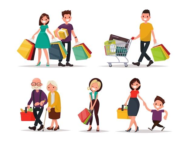 Набор символов и людей, делающих покупки. иллюстрация плоского дизайна