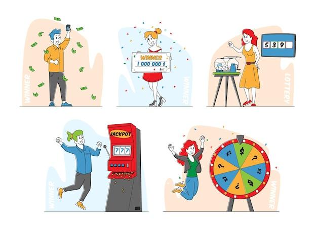 キャラクターギャンブルゲームの勝者のセット