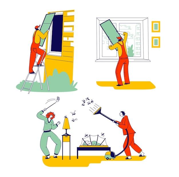 여름 기간에 모기를 보호하기 위해 그물을 설치하는 문자 집합입니다. 창문에 그물을 설치하는 노동자, 밤에 곤충과 싸우는 가족 커플. 선형 사람들 벡터 일러스트 레이 션