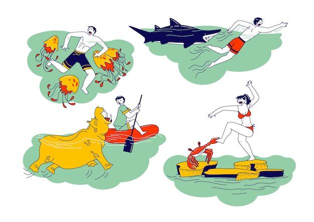 캐릭터 세트는 물 동물 하마, 게, 해파리 및 상어로 공격받습니다. 여행 및 야외 레크리에이션 중 야수 공격, 예기치 않은 상황. 선형 사람들 벡터 일러스트 레이 션