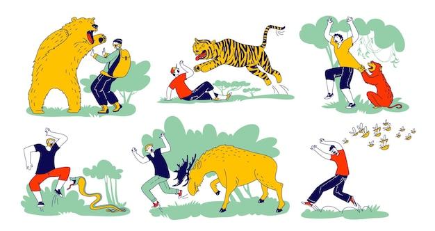 캐릭터 세트는 야생 동물 곰, 호랑이, 원숭이와 무스와 꿀벌로 공격받습니다. 야외 레크리에이션의 위험, 자연의 예상치 못한 상황, 야수 공격. 선형 사람들 벡터 일러스트 레이 션