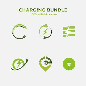 Набор зарядки логотипа дизайн