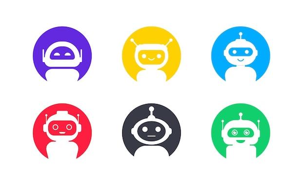 Набор чат-бота в плоском стиле. значок чат-мессенджера. значок поддержки или обслуживания. бот службы поддержки. онлайн-консультация. обслуживание клиентов, поддержка, помощник. чат-бот или сеть искусственного интеллекта