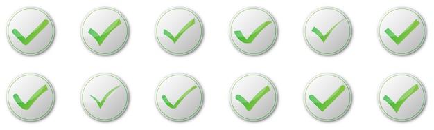 白い背景の上のチェックマークボタンのセットです。図。影付きの緑の承認済みアイコン
