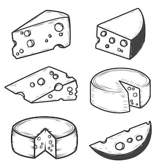 白い背景の上のチーズアイコンのセットです。レストランメニュー、ポスターの要素