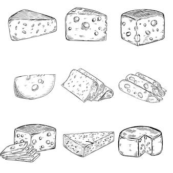 白い背景の上のチーズイラストのセットです。ポスター、メニューの要素。図