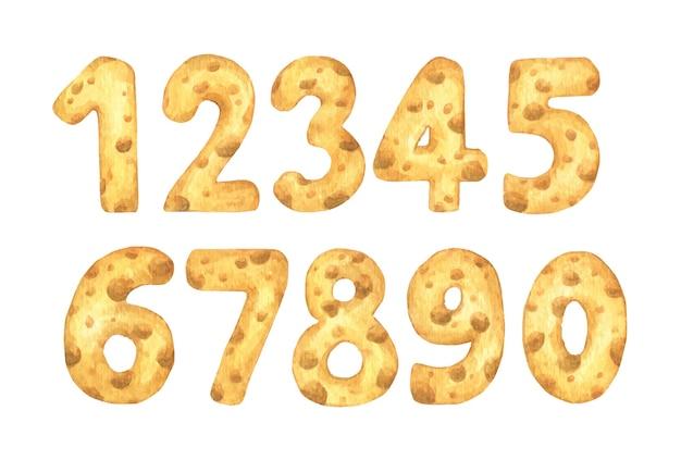 Набор чисел сыра от одного до нуля. акварельная иллюстрация.