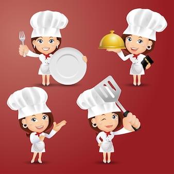 다른 포즈의 요리사 캐릭터 세트